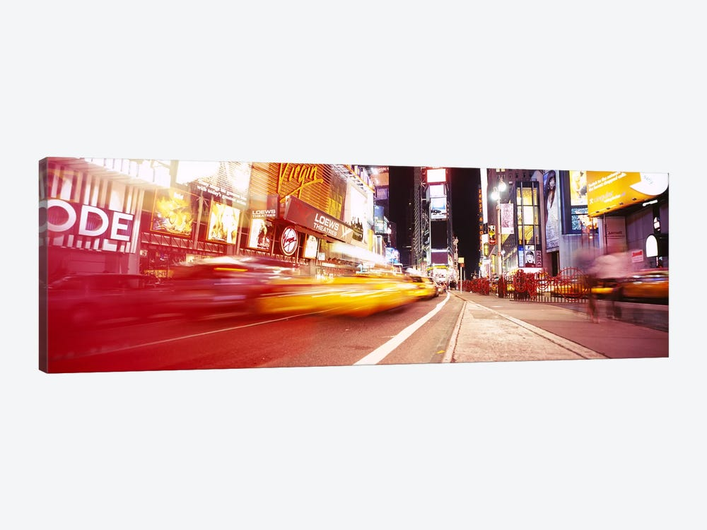 Blurred Motion View Of Nighttime Traffice, Times Square, Midtown, New York City, New York, USA by Panoramic Images 1-piece Canvas Print