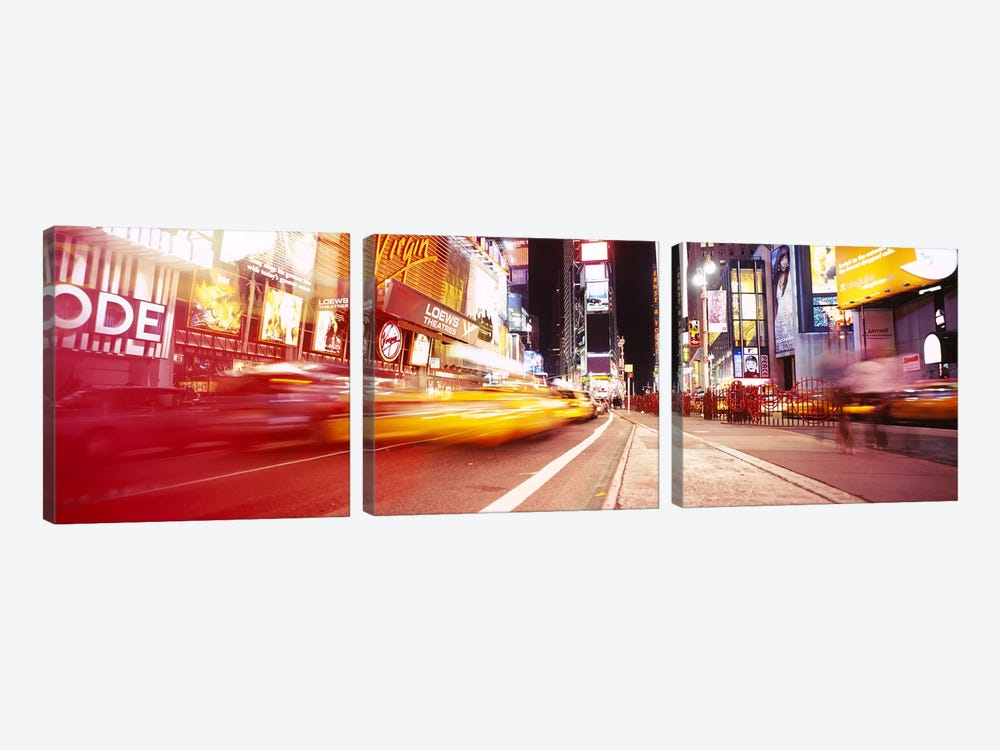 Blurred Motion View Of Nighttime Traffice, Times Square, Midtown, New York City, New York, USA by Panoramic Images 3-piece Canvas Print