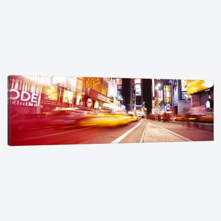 Blurred Motion View Of Nighttime Traffice, Times Square, Midtown, New York City, New York, USA Canvas Print #PIM6069} by Panoramic Images Canvas Art