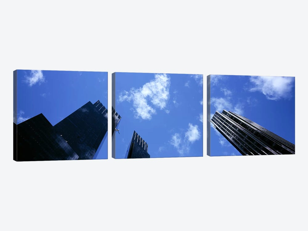 Low angle view of skyscrapersColumbus Circle, Manhattan, New York City, New York State, USA by Panoramic Images 3-piece Art Print