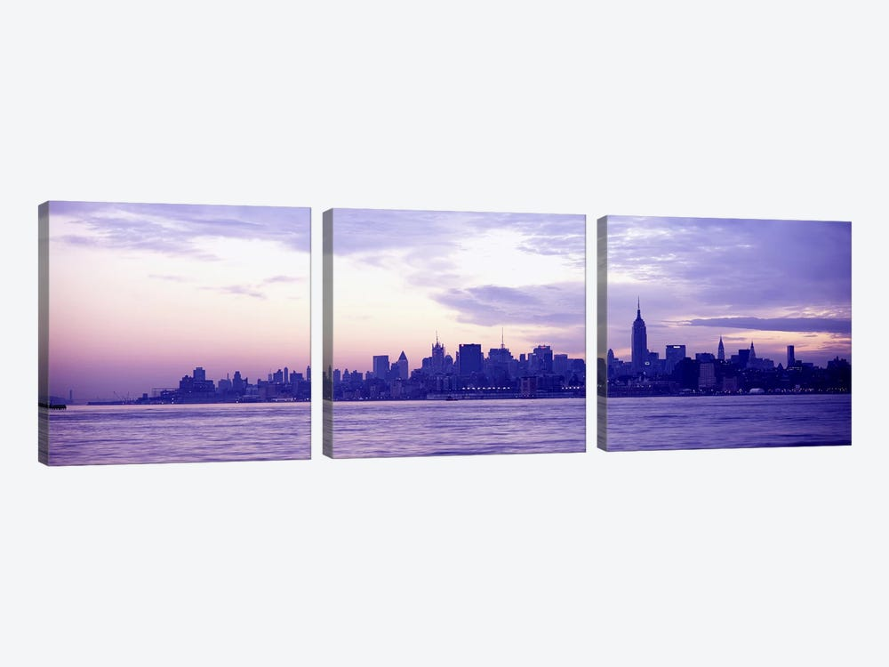Skyscrapers at the waterfront, at sunriseManhattan, New York City, New York State, USA by Panoramic Images 3-piece Canvas Art