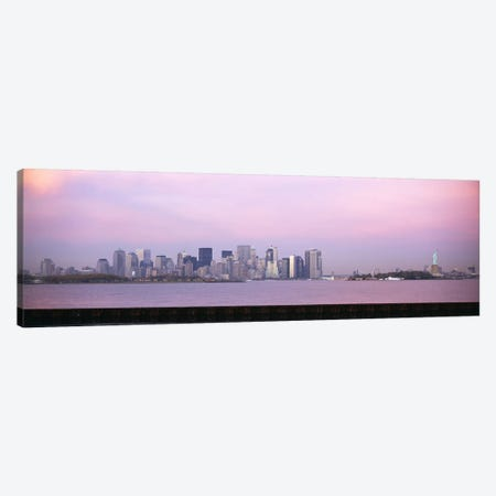 Skyscrapers & a statue at the waterfront, Statue of Liberty, Manhattan, New York City, New York State, USA Canvas Print #PIM6077} by Panoramic Images Canvas Wall Art