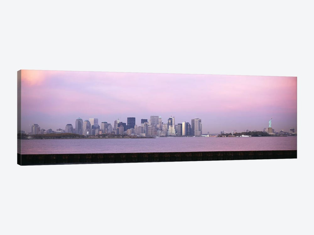 Skyscrapers & a statue at the waterfront, Statue of Liberty, Manhattan, New York City, New York State, USA by Panoramic Images 1-piece Canvas Art