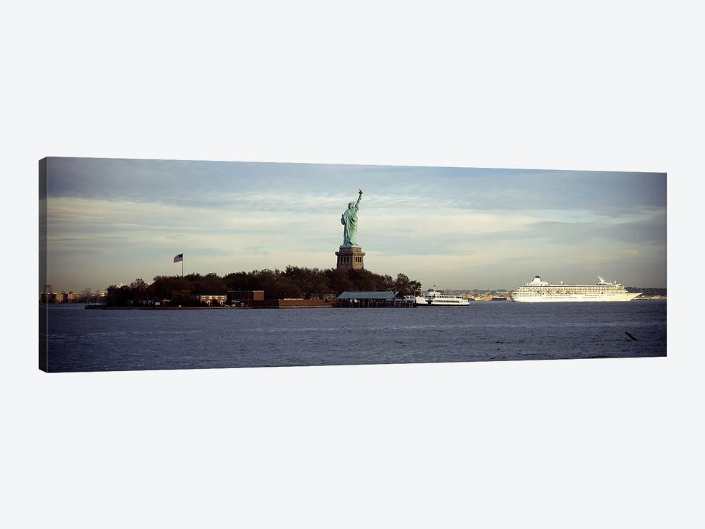 Statue on an island in the seaStatue of Liberty, Liberty Island, New York City, New York State, USA by Panoramic Images 1-piece Canvas Wall Art