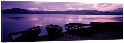 Sunset Fishing Boats Loch Awe Scotland Canvas Art Print
