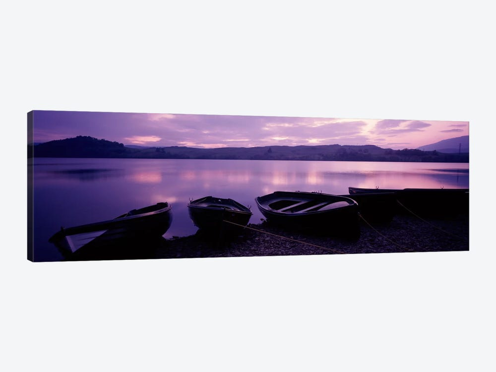 Sunset Fishing Boats Loch Awe Scotland by Panoramic Images 1-piece Canvas Print