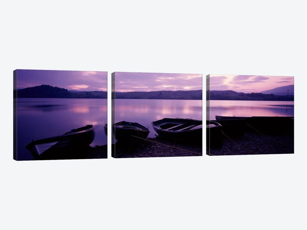 Sunset Fishing Boats Loch Awe Scotland by Panoramic Images 3-piece Canvas Print