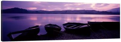 Sunset Fishing Boats Loch Awe Scotland Canvas Art Print