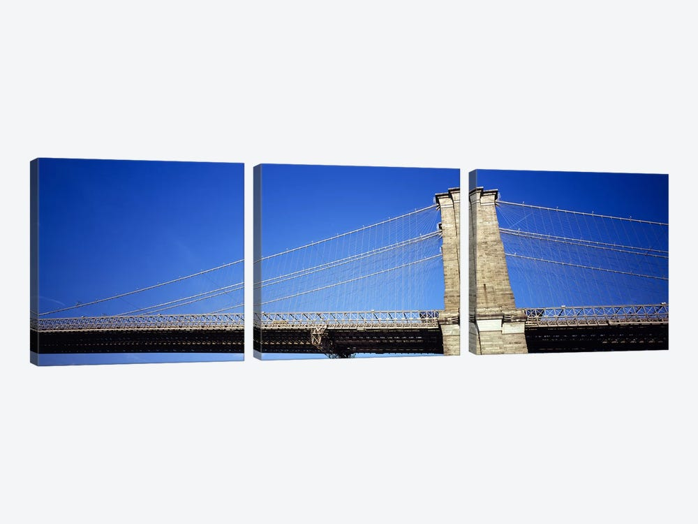 Low angle view of a bridgeBrooklyn Bridge, Manhattan, New York City, New York State, USA by Panoramic Images 3-piece Canvas Art