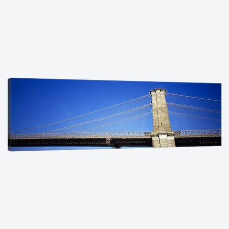 Low angle view of a bridgeBrooklyn Bridge, Manhattan, New York City, New York State, USA Canvas Print #PIM6080} by Panoramic Images Canvas Artwork