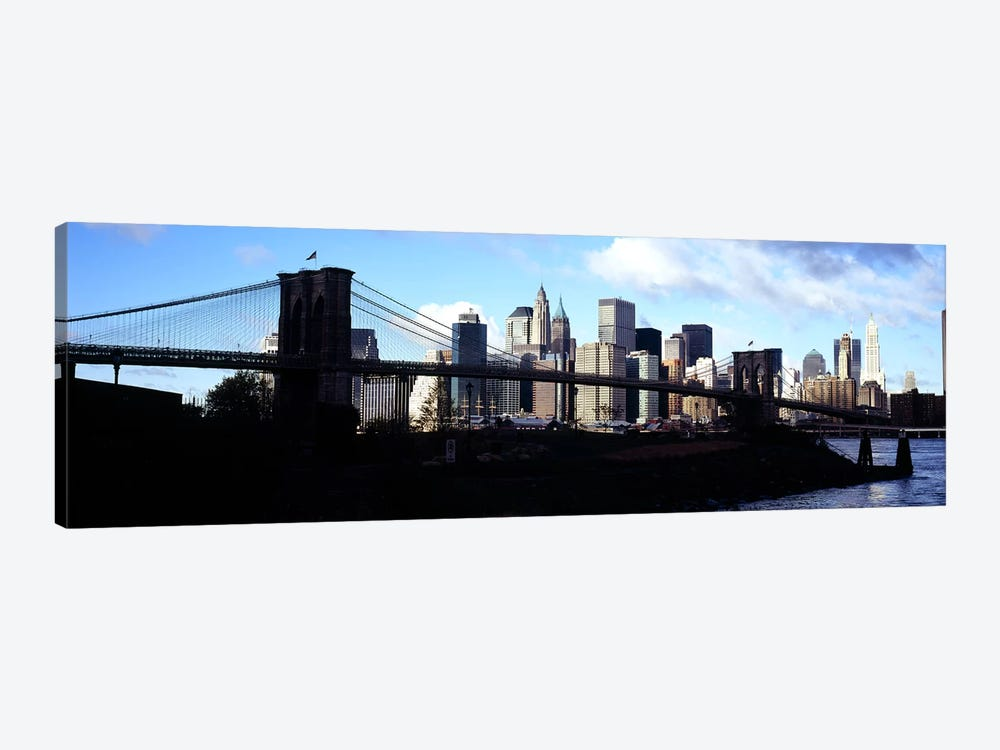 Skyscrapers at the waterfront, Brooklyn Bridge, East River, Manhattan, New York City, New York State, USA by Panoramic Images 1-piece Canvas Print
