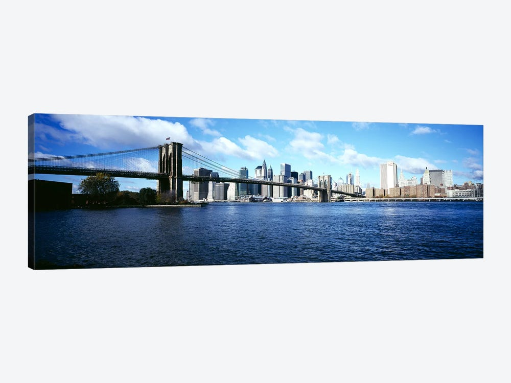 Bridge across a river, Brooklyn Bridge, East River, Manhattan, New York City, New York State, USA by Panoramic Images 1-piece Canvas Artwork