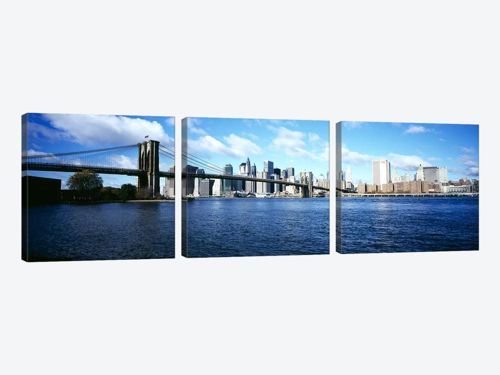 Bridge across a river, Brooklyn Bridge, East River, Manhattan, New York City, New York State, USA by Panoramic Images 3-piece Canvas Wall Art