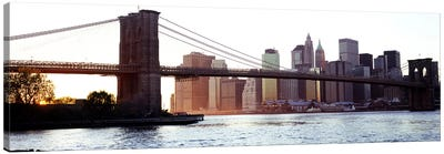 Bridge across a river, Brooklyn Bridge, East River, Manhattan, New York City, New York State, USA #2 Canvas Print #PIM6083