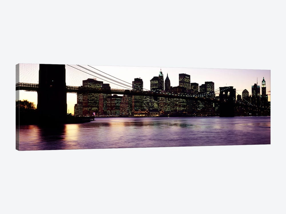 Bridge across a river, Brooklyn Bridge, East River, Manhattan, New York City, New York State, USA #3 by Panoramic Images 1-piece Canvas Wall Art