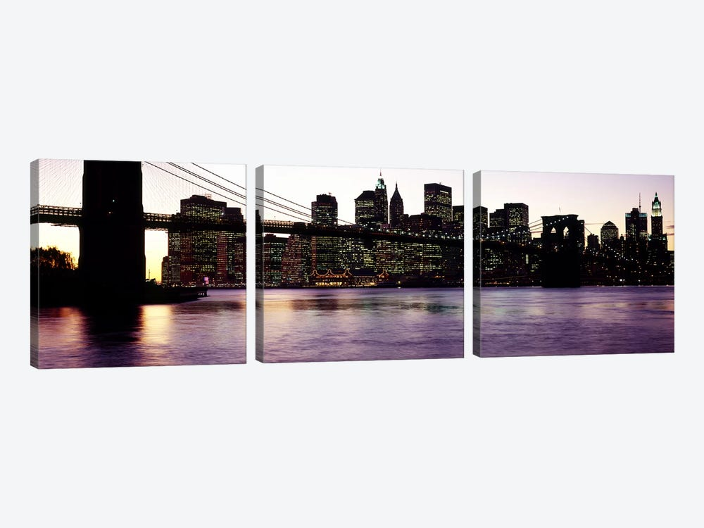 Bridge across a river, Brooklyn Bridge, East River, Manhattan, New York City, New York State, USA #3 by Panoramic Images 3-piece Canvas Wall Art