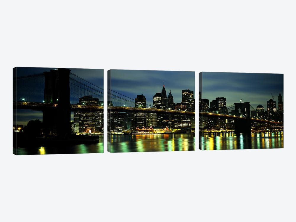 Brooklyn Bridge & Lower Manhattan, New York City, New York, USA by Panoramic Images 3-piece Canvas Art Print