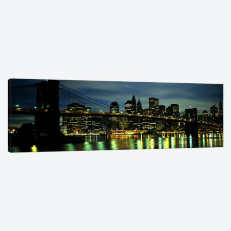 Brooklyn Bridge & Lower Manhattan, New York City, New York, USA 3-Piece Canvas #PIM6085} by Panoramic Images Canvas Art Print