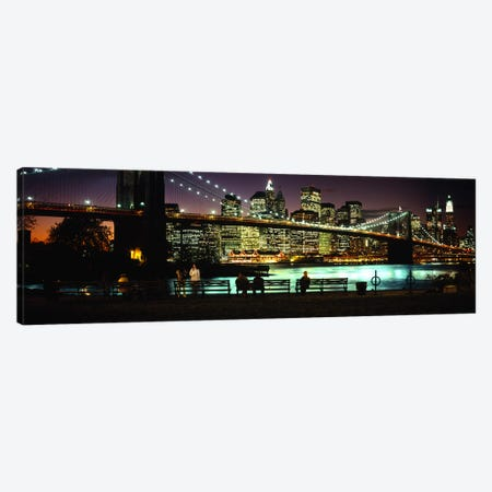 Brooklyn Bridge & Lower Manhattan At NIght, New York City, New York, USA Canvas Print #PIM6086} by Panoramic Images Canvas Print