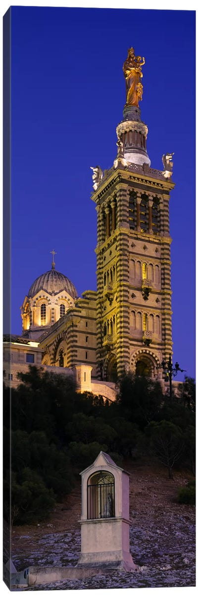 Low angle view of a tower of a church, Notre Dame De La Garde, Marseille, France Canvas Print #PIM6089