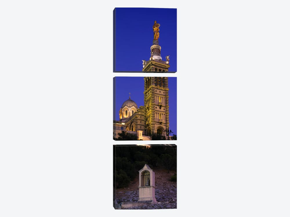 Low angle view of a tower of a church, Notre Dame De La Garde, Marseille, France by Panoramic Images 3-piece Art Print