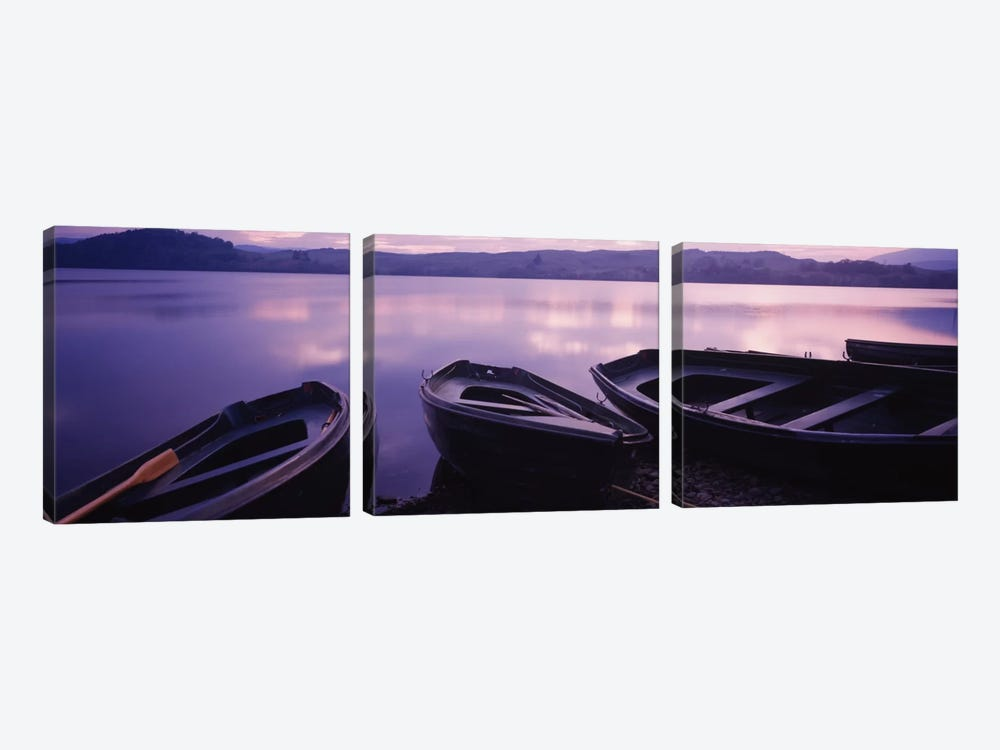 Beached Row Boats, Loch Awe, Argyll and Bute, Highlands, Scotland, United Kingdom by Panoramic Images 3-piece Canvas Wall Art