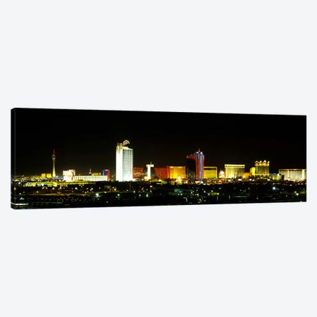 Buildings lit up at night in a city, Las Vegas, Nevada, USA Canvas Print #PIM6090} by Panoramic Images Canvas Art Print