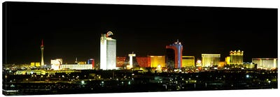 Buildings lit up at night in a city, Las Vegas, Nevada, USA Canvas Art Print