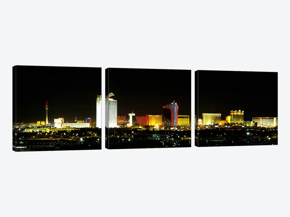 Buildings lit up at night in a city, Las Vegas, Nevada, USA by Panoramic Images 3-piece Canvas Print