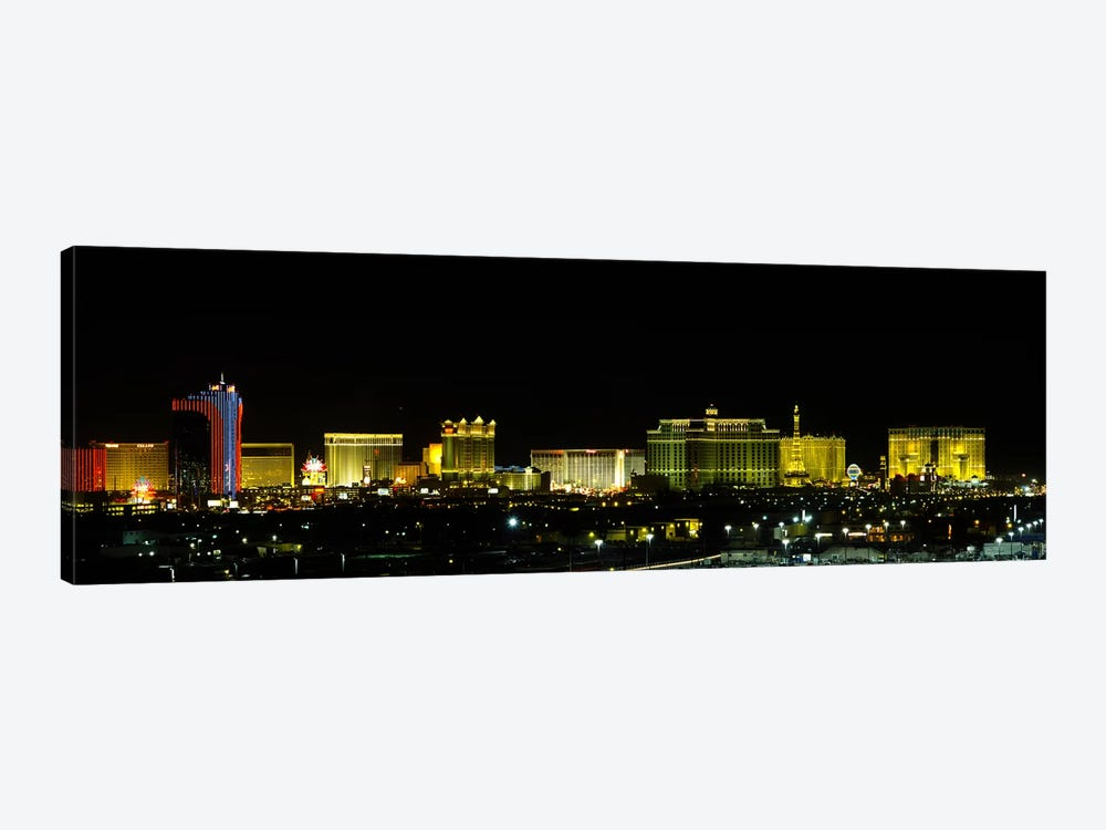 Buildings lit up at night in a city, Las Vegas, Nevada, USA #2 by Panoramic Images 1-piece Canvas Wall Art