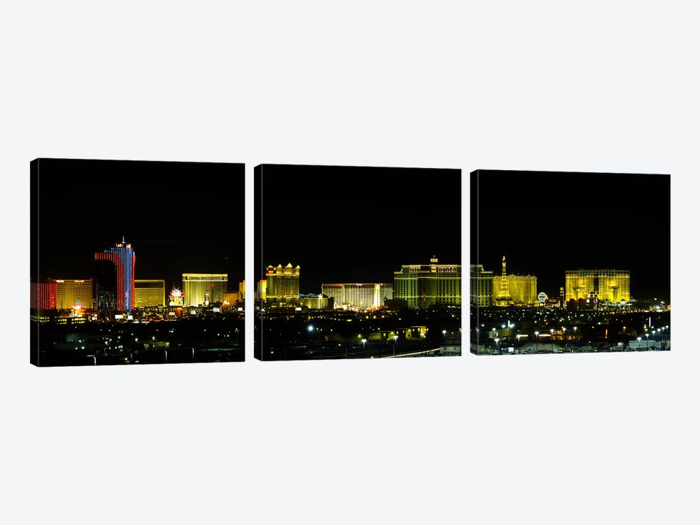 Buildings lit up at night in a city, Las Vegas, Nevada, USA #2 by Panoramic Images 3-piece Canvas Art