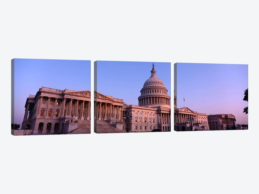 Low angle view of a government building, Capitol Building, Washington DC, USA by Panoramic Images 3-piece Art Print