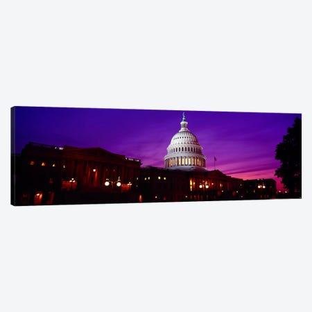 Low angle view of a government building lit up at twilight, Capitol Building, Washington DC, USA Canvas Print #PIM6095} by Panoramic Images Canvas Art
