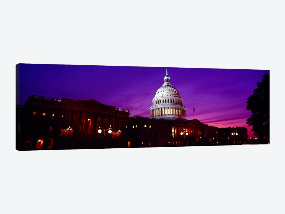 Low angle view of a government building lit up at twilight, Capitol Building, Washington DC, USA by Panoramic Images 1-piece Canvas Art