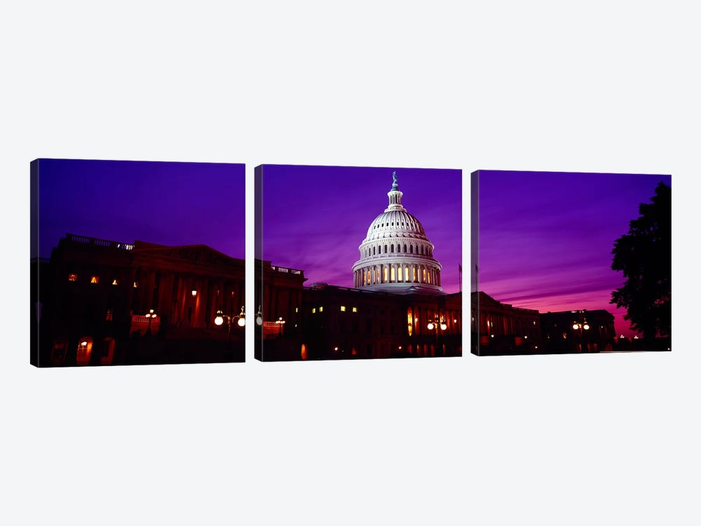 Low angle view of a government building lit up at twilight, Capitol Building, Washington DC, USA by Panoramic Images 3-piece Canvas Artwork