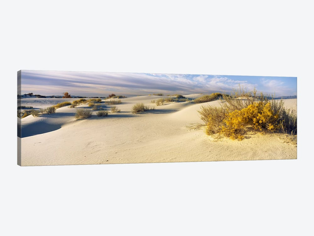Cloudy Desert Landscape, White Sands National Monument, Tularosa Basin, New Mexico, USA by Panoramic Images 1-piece Canvas Art