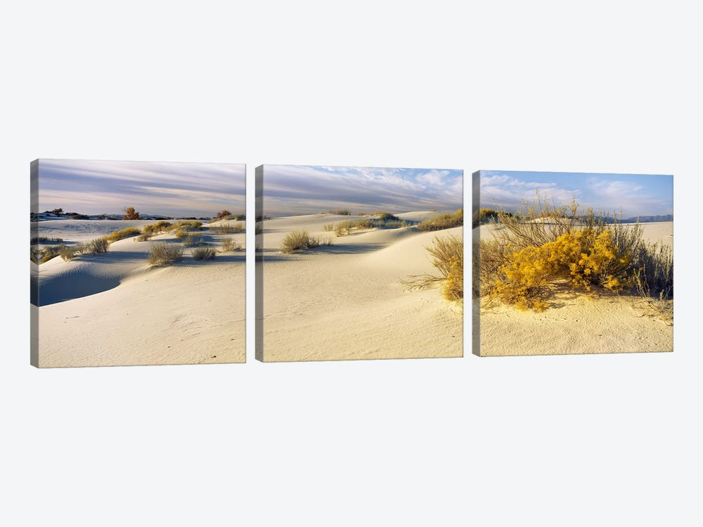 Cloudy Desert Landscape, White Sands National Monument, Tularosa Basin, New Mexico, USA by Panoramic Images 3-piece Canvas Artwork