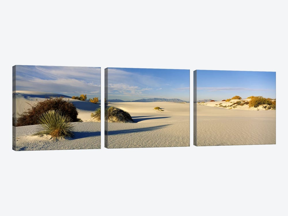 Desert Landscape, White Sands National Monument, Tularosa Basin, New Mexico, USA 3-piece Canvas Art Print