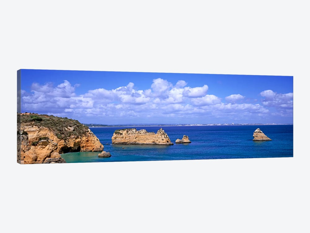 Cloudy Seascape With Limestone Outcrops, Dona Ana Beach, Lagos, Algarve Region, Portugal by Panoramic Images 1-piece Canvas Print