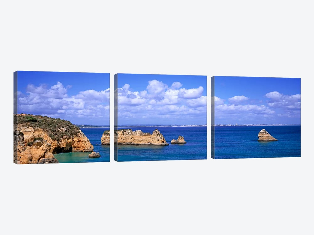 Cloudy Seascape With Limestone Outcrops, Dona Ana Beach, Lagos, Algarve Region, Portugal by Panoramic Images 3-piece Art Print