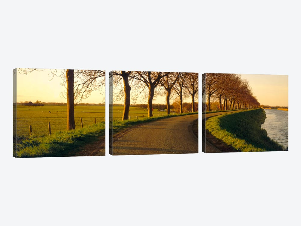 Tree-Lined Riverside Road, Noordbeemster, North Holland, Netherlands by Panoramic Images 3-piece Canvas Print