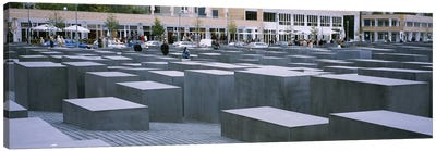 Group of people walking near memorials, Memorial To The Murdered Jews of Europe, Berlin, Germany Canvas Print #PIM6115