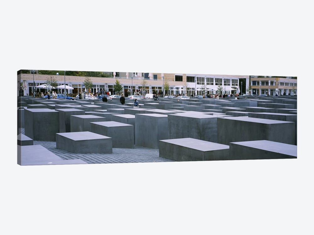 Group of people walking near memorials, Memorial To The Murdered Jews of Europe, Berlin, Germany by Panoramic Images 1-piece Canvas Art Print