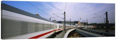 Blurred Motion View Of A High Speed Train, Berlin, Germany Canvas Art Print