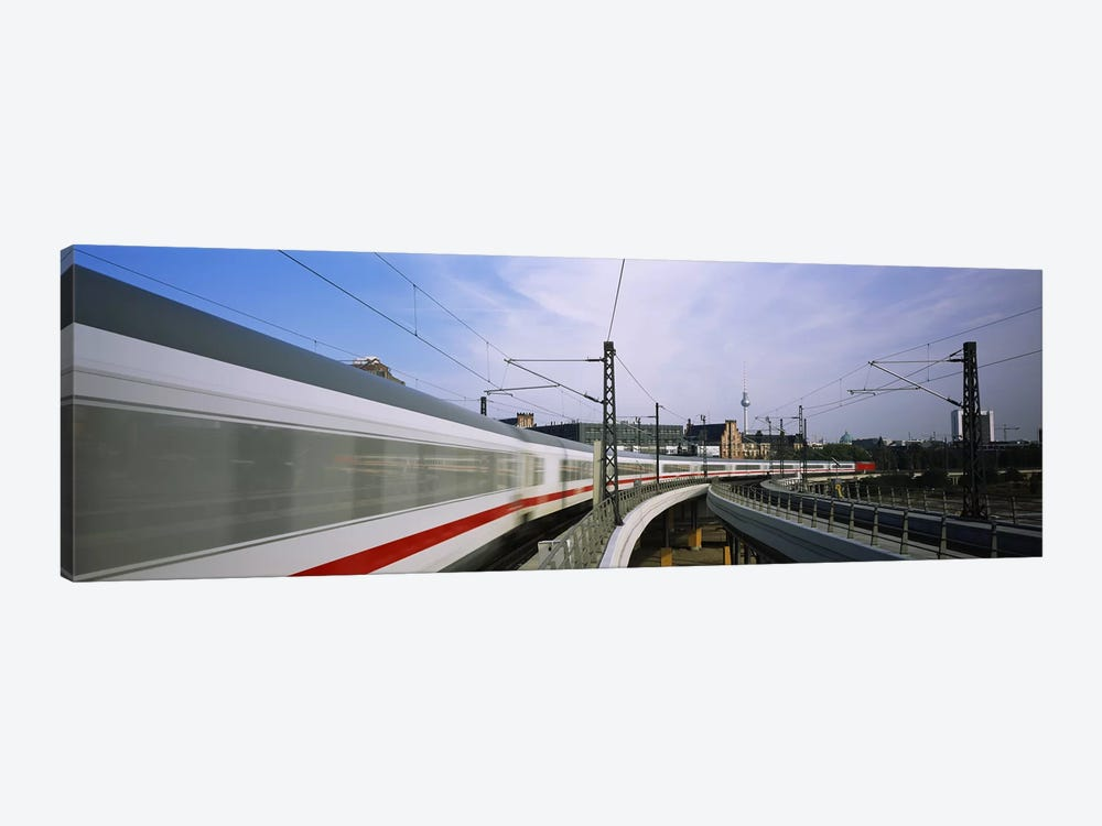 Blurred Motion View Of A High Speed Train, Berlin, Germany 1-piece Canvas Art Print