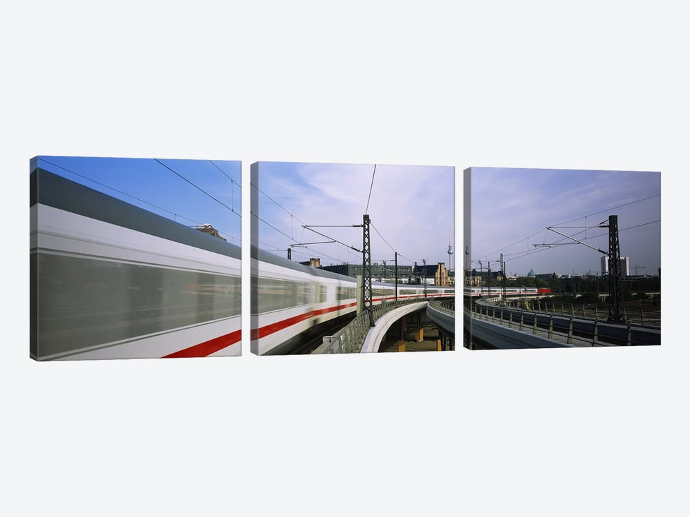 Blurred Motion View Of A High Speed Train, Berlin, Germany 3-piece Art Print