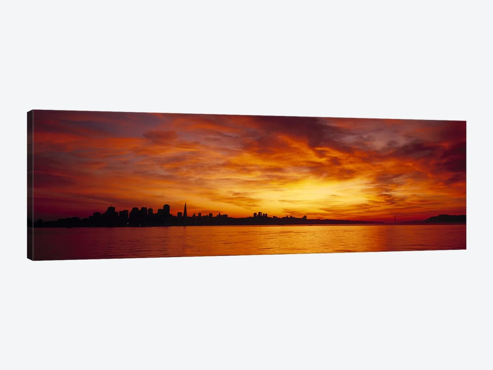 Silhouette of buildings at the waterfront, San Francisco, California, USA by Panoramic Images 1-piece Canvas Artwork