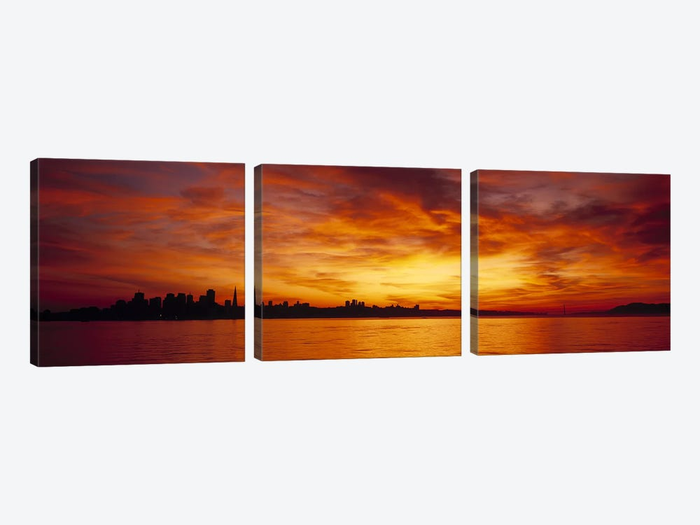 Silhouette of buildings at the waterfront, San Francisco, California, USA by Panoramic Images 3-piece Canvas Wall Art