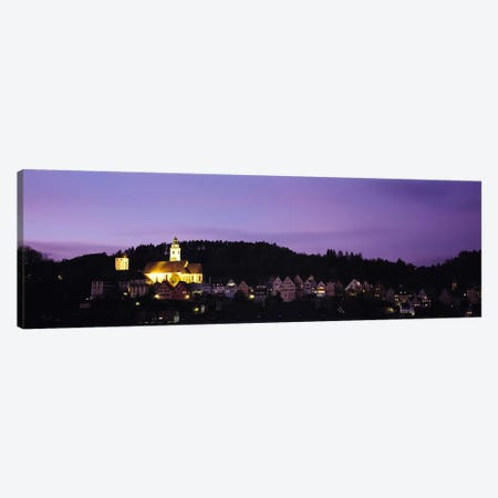 Church lit up at dusk in a town, Horb Am Neckar, Black Forest, Baden-Wurttemberg, Germany Canvas Print #PIM6138} by Panoramic Images Canvas Artwork