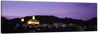 Church lit up at dusk in a town, Horb Am Neckar, Black Forest, Baden-Wurttemberg, Germany Canvas Art Print